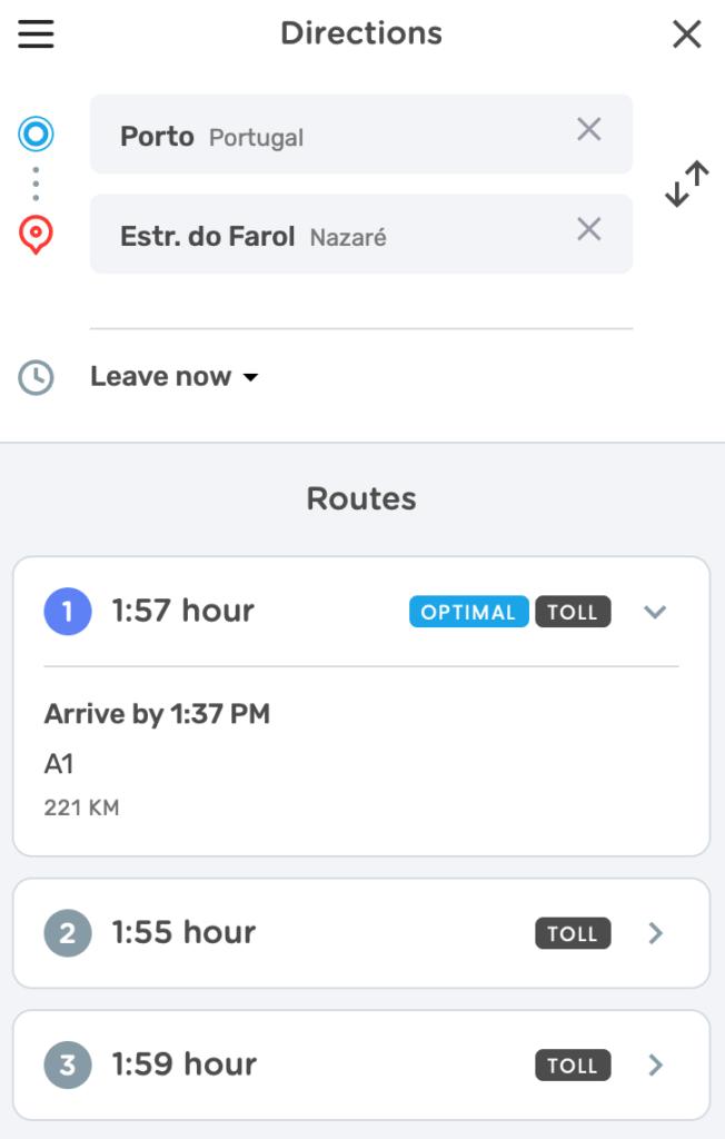waze route porto nazare